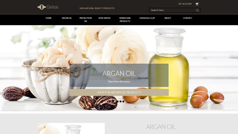 eCommerce site selling 100% pure argan oil and prickly pear oil from Morocco
