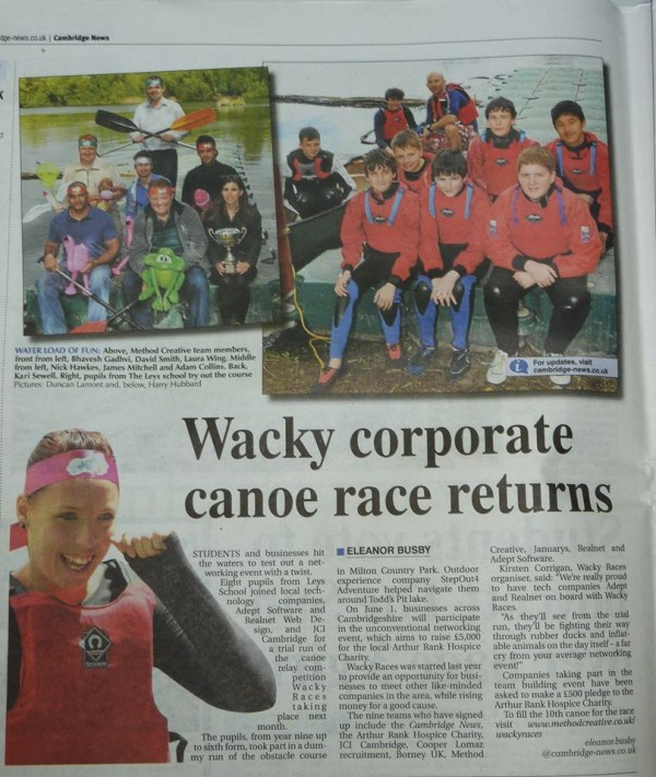A team of six from each company will be battling it out canoeing