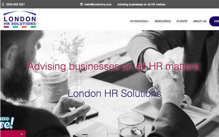 New enquiries the focus for specialist HR advice company London HR Solutions' new website.